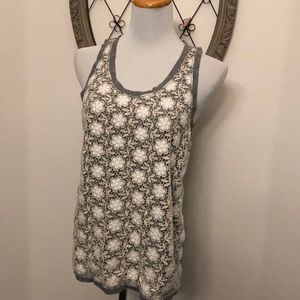 J. Crew gray and ivory knit detail tank size m